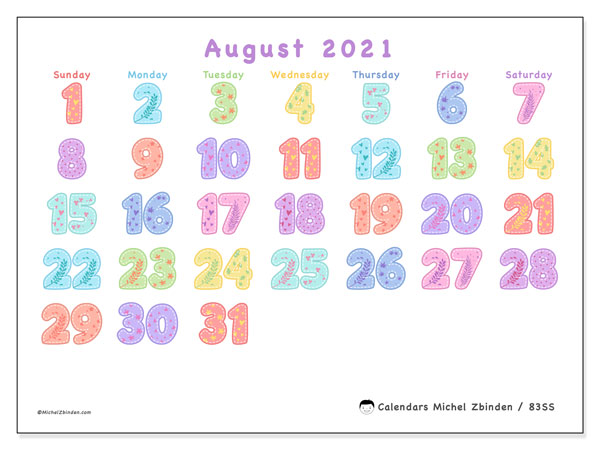 Calendar August 2021 - 83SS. Festival of Colors. Monthly Calendar and free schedule to print.