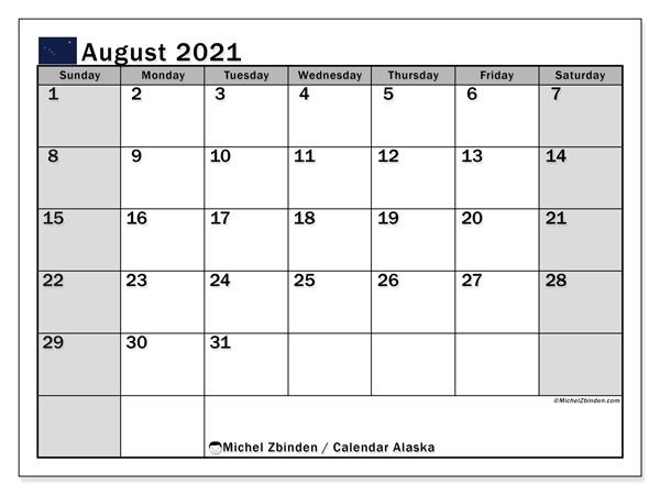 August 2021 Calendar, with the holidays of Alaska. Free printable calendar with public holidays.