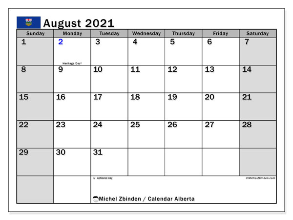 Calendar August 2021 - Alberta. Public Holidays. Monthly Calendar and agenda to print free.