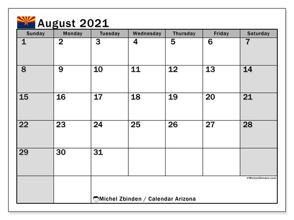 "Printable ""Arizona"" calendar with public holidays. Monthly August 2021 calendar and free planner to print."