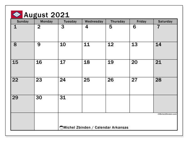 "Printable ""Arkansas"" calendar with public holidays. Monthly August 2021 calendar and free printable agenda."