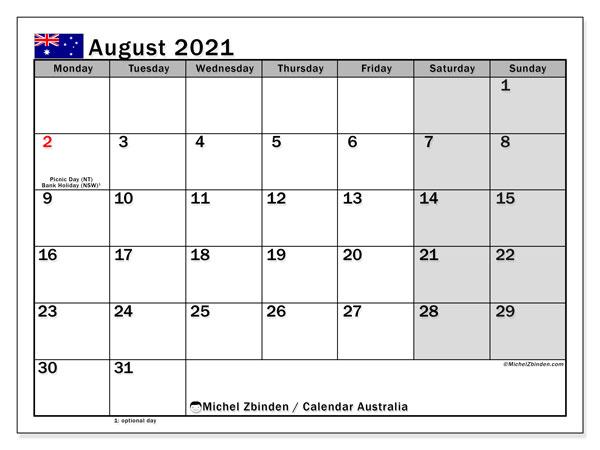 August 2021 Calendar, with the holidays of Australia. Holidays calendar to print free.