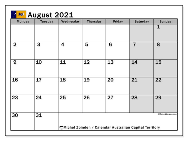 "Printable ""Australian Capital Territory"" calendar with public holidays. Monthly August 2021 calendar and bullet journal to print free."