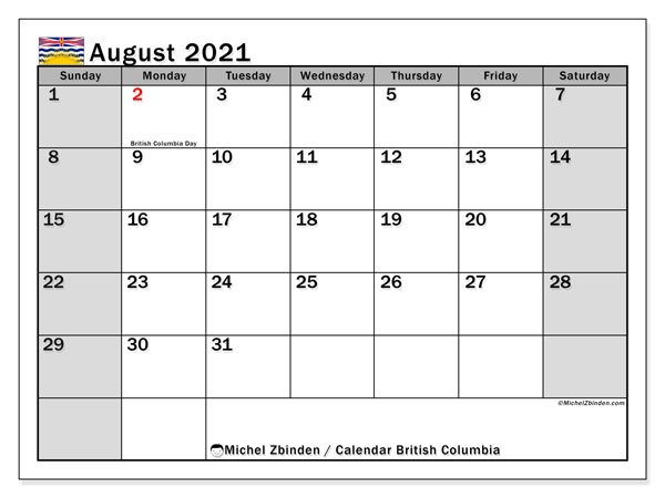 August 2021 Calendar, with the holidays of British Columbia. Holidays calendar to print free.