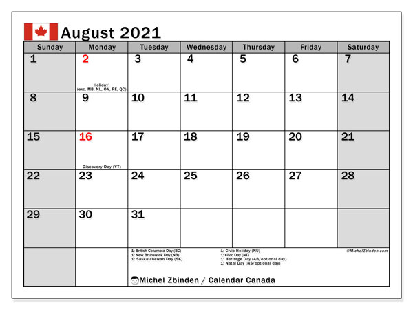 Calendar August 2021 - Canada. Public Holidays. Monthly Calendar and bullet journal to print free.