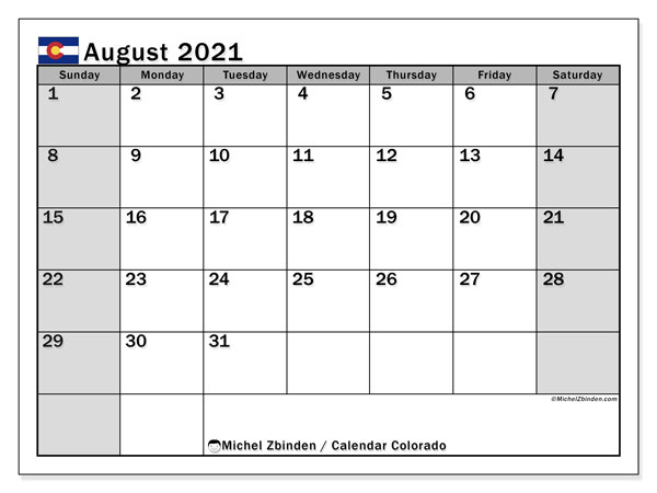 "Printable ""Colorado"" calendar with public holidays. Monthly August 2021 calendar and bullet journal to print free."