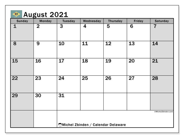 August 2021 Calendar, with the holidays of Delaware. Free printable calendar with public holidays.