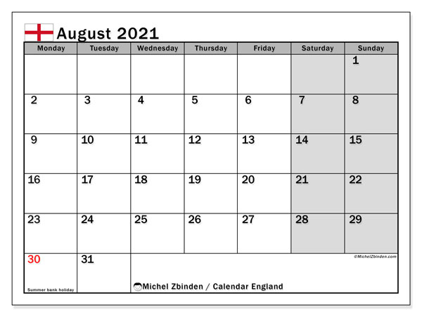 August 2021 Calendar, with the holidays of England. Free printable calendar with public holidays.