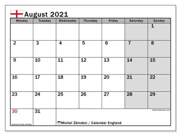 August 2021 Calendar, with the holidays of England. Holidays calendar to print free.