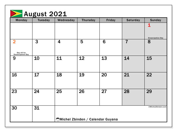 August 2021 Calendar, with the holidays of Guyana. Free printable calendar with public holidays.