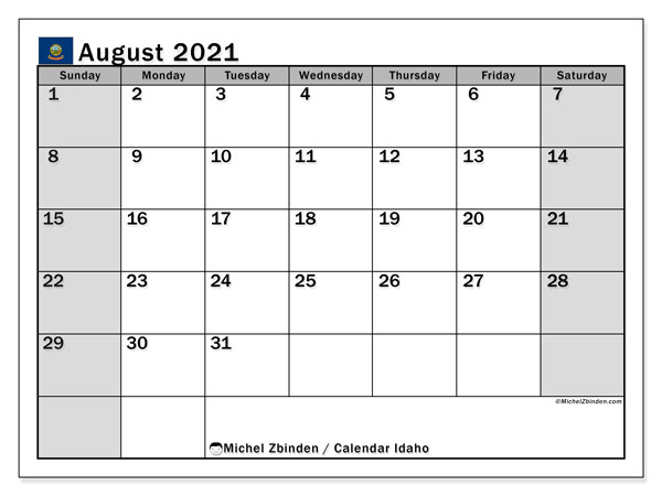 August 2021 Calendar, with the holidays of Idaho. Holidays calendar to print free.