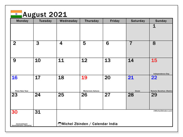 August 2021 Calendar, with the holidays of India. Holidays calendar to print free.