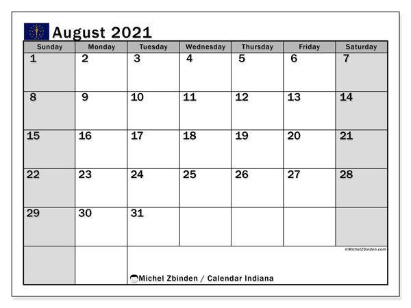 August 2021 Calendar, with the holidays of Indiana. Holidays calendar to print free.
