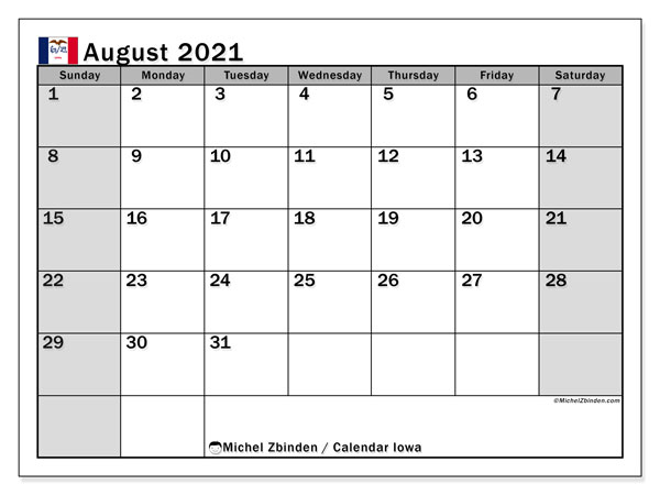 August 2021 Calendar, with the holidays of Iowa. Free printable calendar with public holidays.
