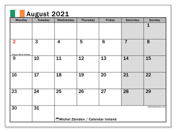 August 2021 Calendar, with the holidays of Ireland. Holidays calendar to print free.