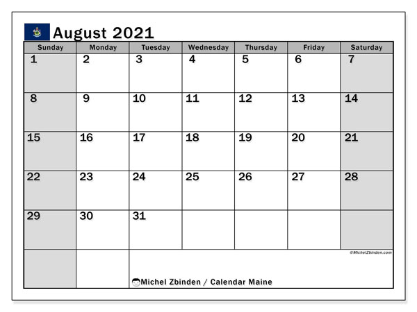 August 2021 Calendar, with the holidays of Maine. Holidays calendar to print free.