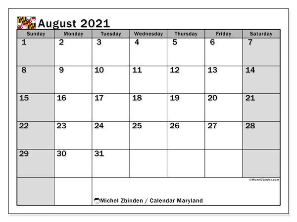 Calendar August 2021 - Maryland. Public Holidays. Monthly Calendar and schedule to print free.