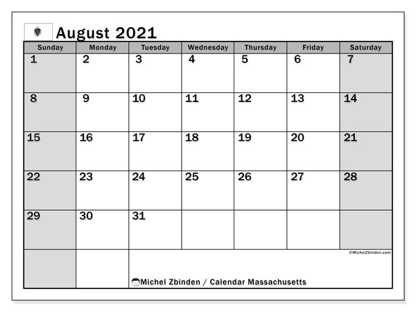 Calendar August 2021 - Massachusetts. Public Holidays. Monthly Calendar and free planner to print.