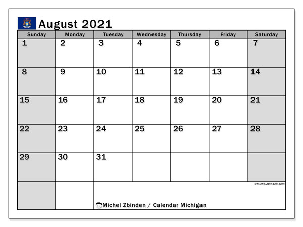 "Printable ""Michigan"" calendar with public holidays. Monthly August 2021 calendar and free timetable to print."