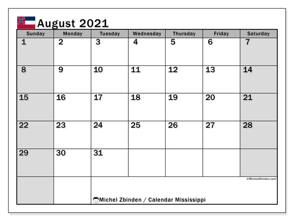 Calendar August 2021 - Mississippi. Public Holidays. Monthly Calendar and free printable timetable.