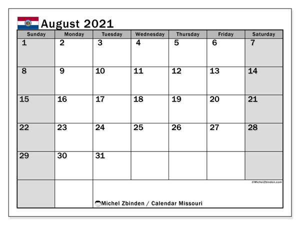 Calendar August 2021 - Missouri. Public Holidays. Monthly Calendar and free timetable to print.