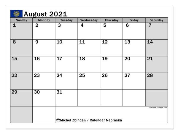 August 2021 Calendar, with the holidays of Nebraska. Free printable calendar with public holidays.