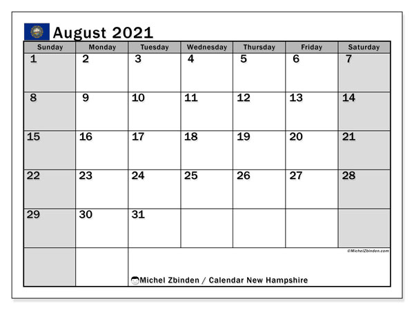 August 2021 Calendar, with the holidays of New Hampshire. Free printable calendar with public holidays.