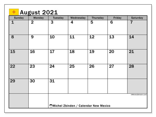 "Printable ""New Mexico"" calendar with public holidays. Monthly August 2021 calendar and free bullet journal to print."
