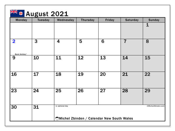 August 2021 Calendar, with the holidays of New South Wales. Free printable calendar with public holidays.