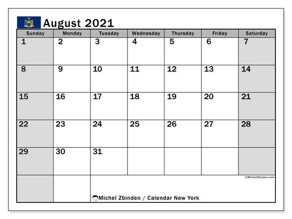 Calendar August 2021 - New York. Public Holidays. Monthly Calendar and bullet journal to print free.