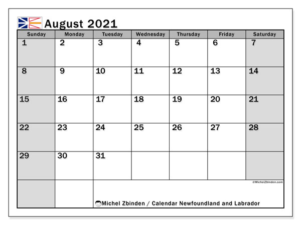 "Printable ""Newfoundland and Labrador"" calendar with public holidays. Monthly August 2021 calendar and free printable planner."
