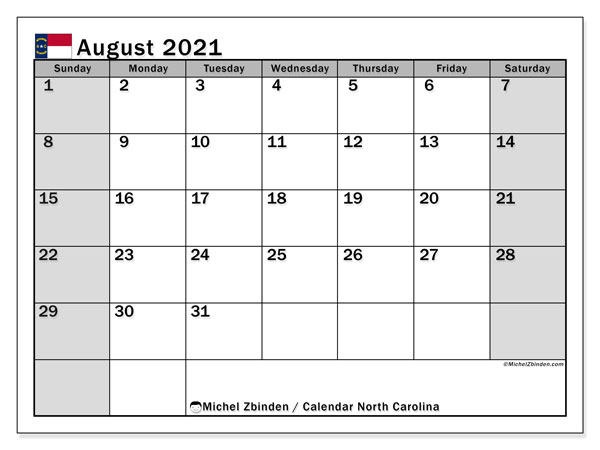 August 2021 Calendar, with the holidays of North Carolina. Holidays calendar to print free.