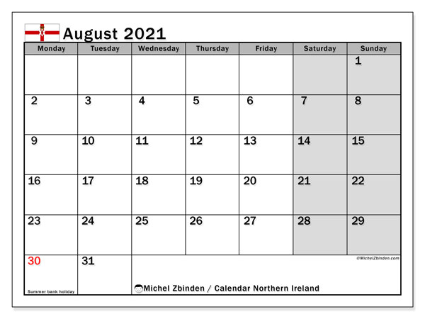 August 2021 Calendar, with the holidays of Northern Ireland. Holidays calendar to print free.