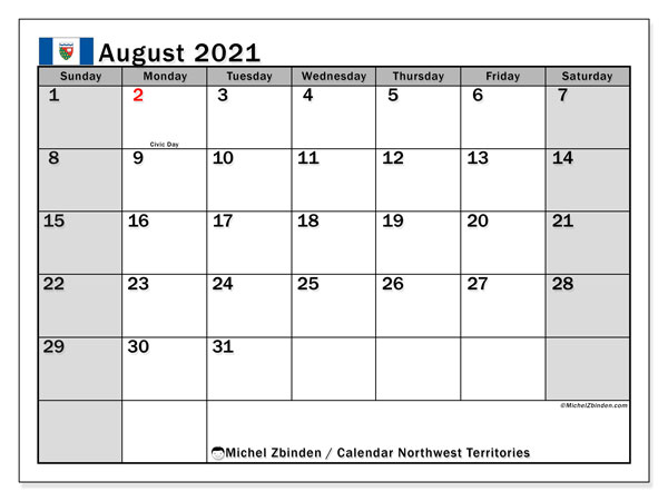 Calendar August 2021 - Northwest Territories. Public Holidays. Monthly Calendar and bullet journal to print free.