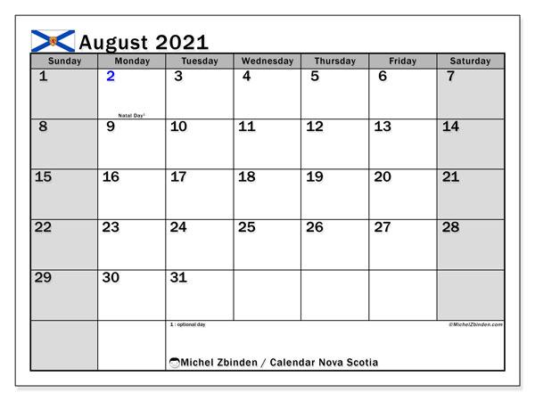 August 2021 Calendar, with the holidays of Nova Scotia. Holidays calendar to print free.