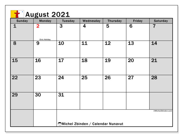 "Printable ""Nunavut"" calendar with public holidays. Monthly August 2021 calendar and free printable schedule."