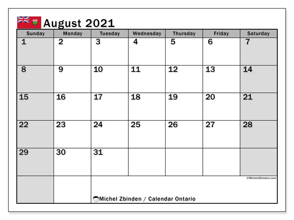 August 2021 Calendar, with the holidays of Ontario. Free printable calendar with public holidays.