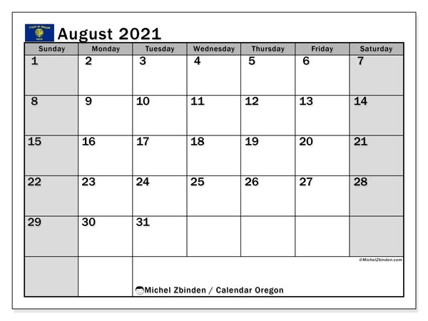 August 2021 Calendar, with the holidays of Oregon. Holidays calendar to print free.
