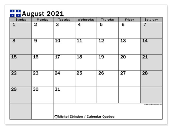 August 2021 Calendar, with the holidays of Quebec. Free printable calendar with public holidays.