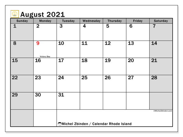 August 2021 Calendar, with the holidays of Rhode Island. Holidays calendar to print free.