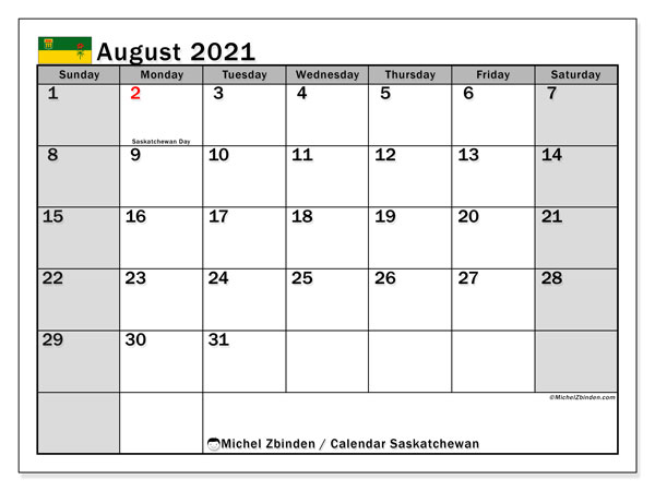 August 2021 Calendar, with the holidays of Saskatchewan. Free printable calendar with public holidays.