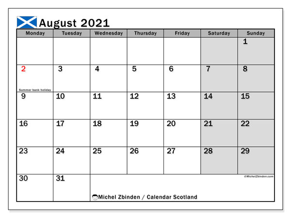 August 2021 Calendar, with the holidays of Scotland. Holidays calendar to print free.