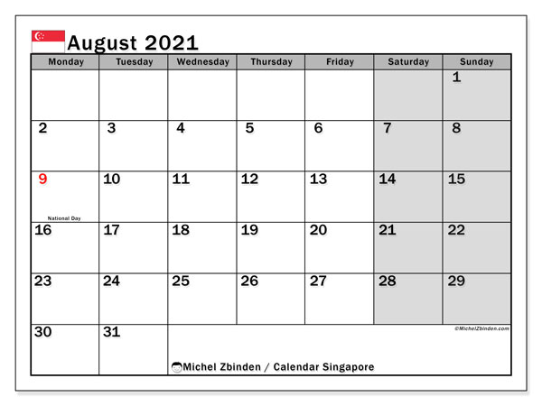 August 2021 Calendar, with the holidays of Singapore. Free printable calendar with public holidays.