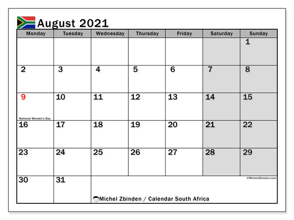 Calendar August 2021 - South Africa. Public Holidays. Monthly Calendar and timetable to print free.