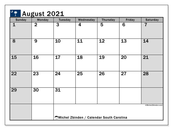 Calendar August 2021 - South Carolina. Public Holidays. Monthly Calendar and agenda to print free.