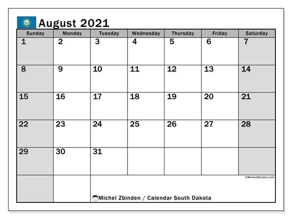 "Printable ""South Dakota"" calendar with public holidays. Monthly August 2021 calendar and timetable to print free."