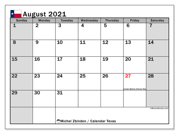 August 2021 Calendar, with the holidays of Texas. Holidays calendar to print free.