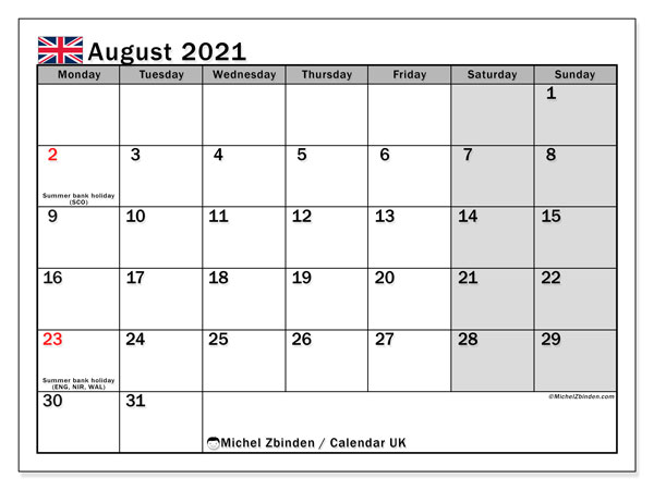 Calendar August 2021 - UK. Public Holidays. Monthly Calendar and free bullet journal to print.