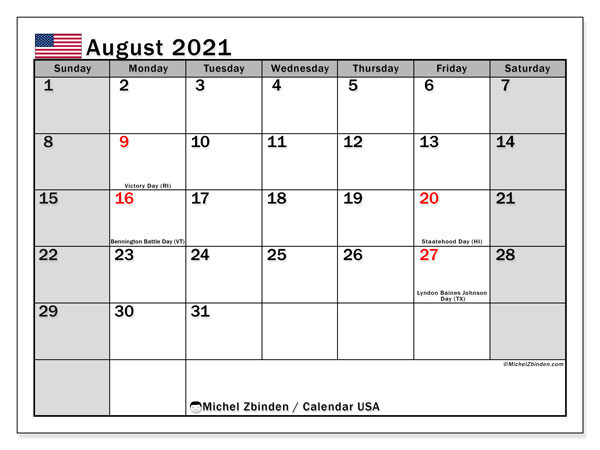 August 2021 Calendar, with the holidays of the USA. Holidays calendar to print free.