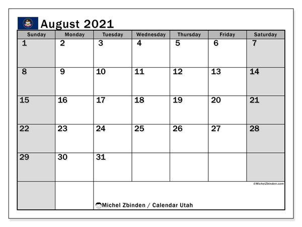 August 2021 Calendar, with the holidays of Utah. Holidays calendar to print free.